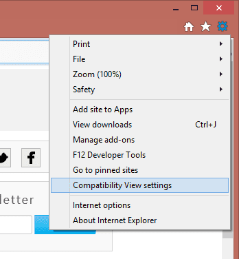 Compatibility View settings in IE11