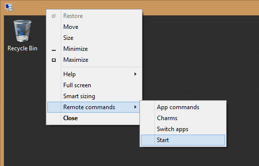 RDP - remote commands in window screen