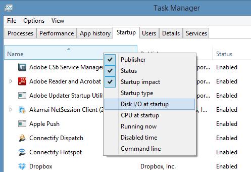 Task Manager - more column options for Startup