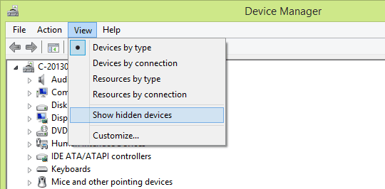Device Manager - show hidden devices 2