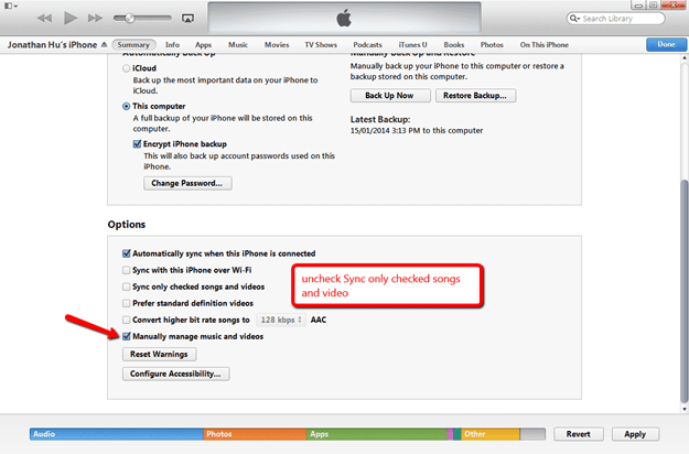 how to delete songs from iphone through itunes