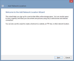 Add Network Location wizard - step 1
