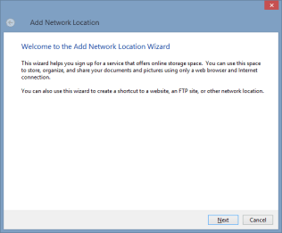 Add Network Location wizard - step 1
