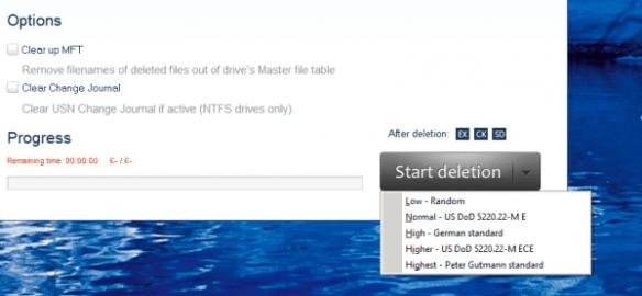 Jihosoft Eraser - deletion options