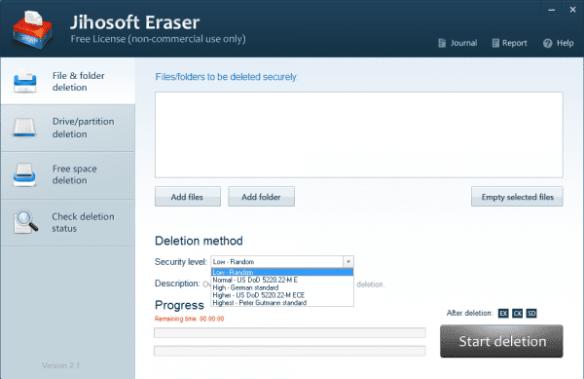Jihosoft Eraser - file and folder deletion