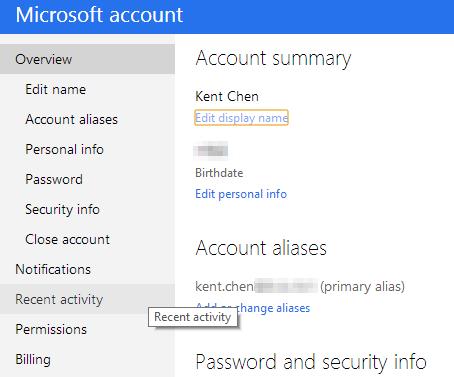 Microsoft account - recent activities