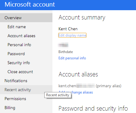 Microsoft account - recent activities