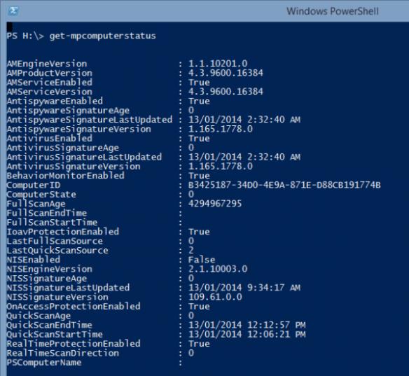 PowerShell - Defender - Get-MpComputerStatus