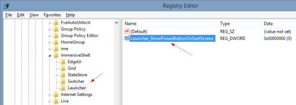 New registry key and value to toggle Power Button