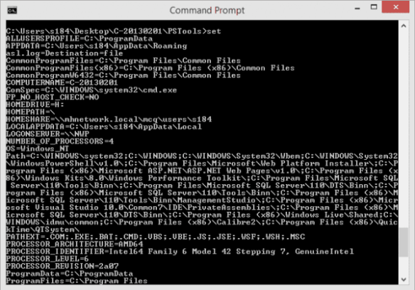 Command Prompt - SET to show the variables
