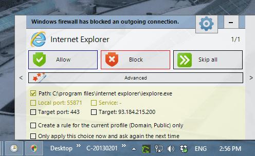 Windows Firewall Notifier - Notifications details