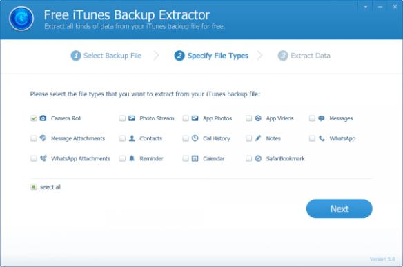 Jihosoft iTunes Backup Extractor - step 2