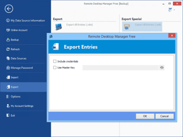 Remote Desktop Manager - Export