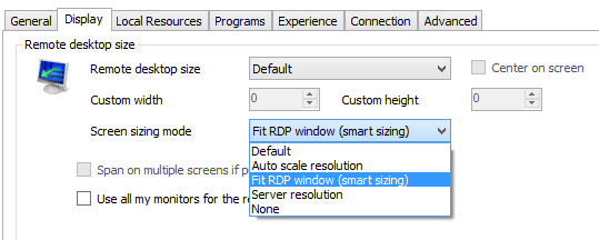 Remote Desktop Manager - RDP settings - display