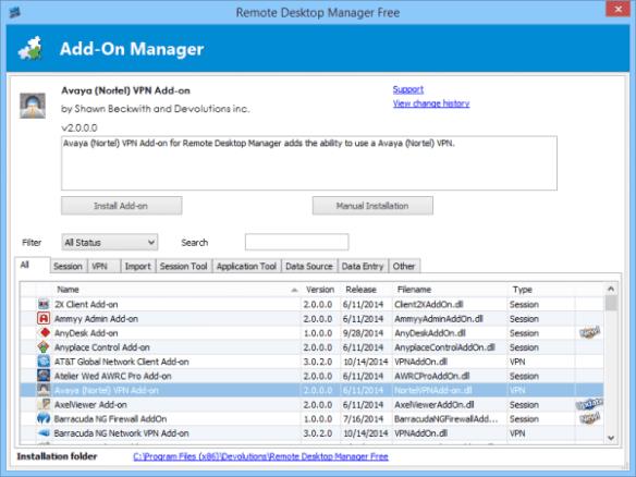 Remote Desktop Manager - add-on manager