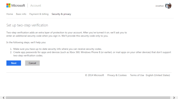 how to add 2 step verification in outlook