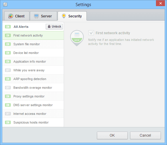 GlassWire - Settings Security Alerts