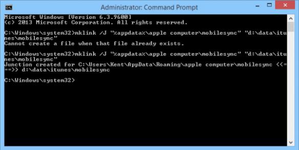 command prompt - mklink mobilesync