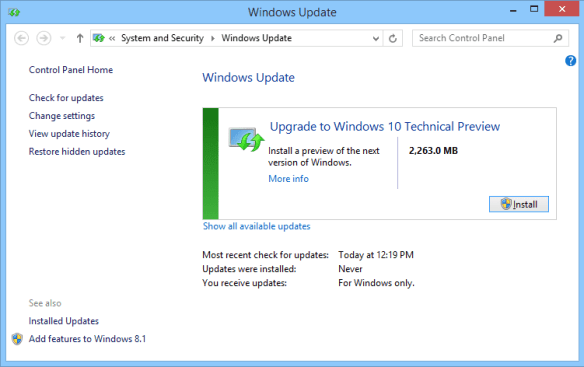 Windows 10 TP - Windows Update