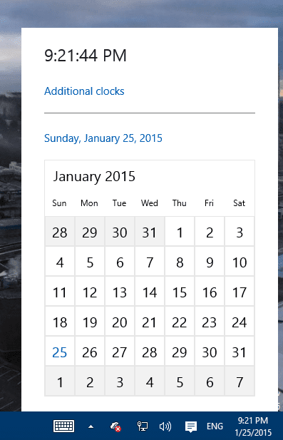 Windows 10 TP - clock and calendar