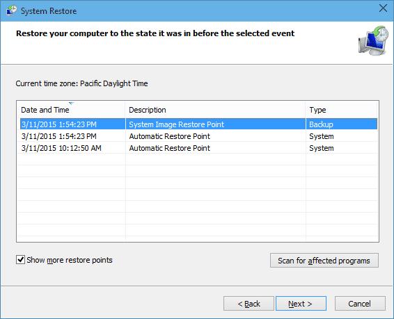 Windows 10 - System restore