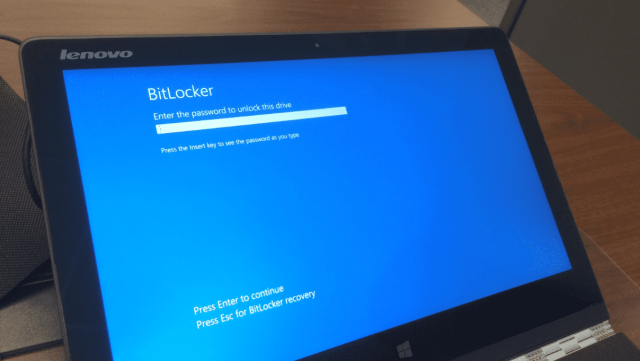 BitLocker password at boot