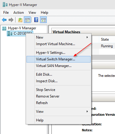 Opening Virtual Switch Manager