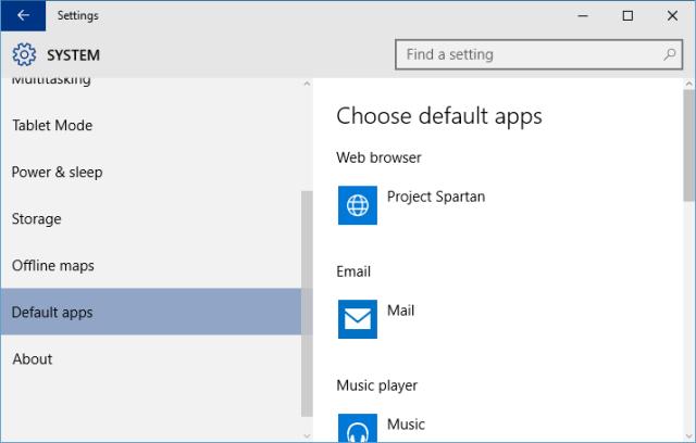 Settings - default apps