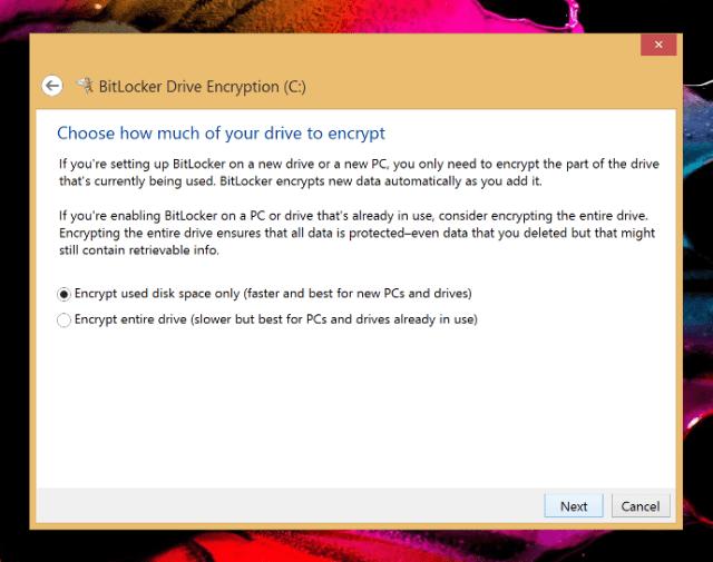 Turn on BitLocker - encryption disk