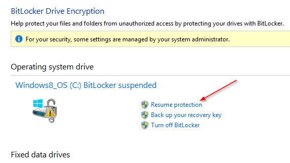BitLocker Drive Encryption-Resume protection