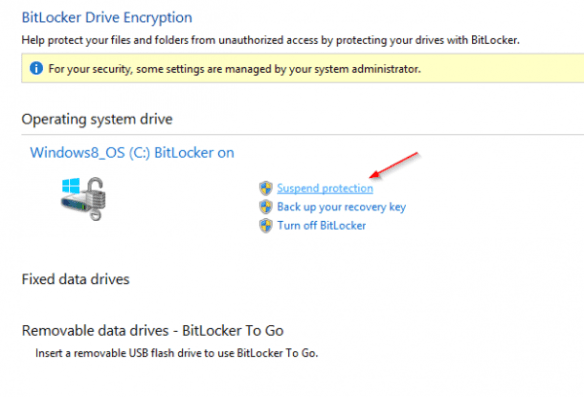 BitLocker Drive Encryption-Suspend Protection