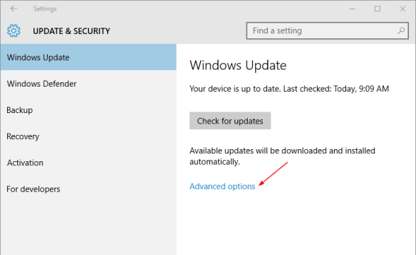 Settings - Update Security