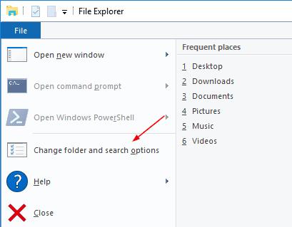 File Explorer - File menu