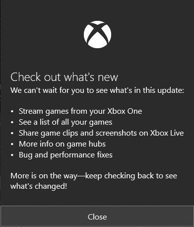 What's new in Windows 10 Xbox App