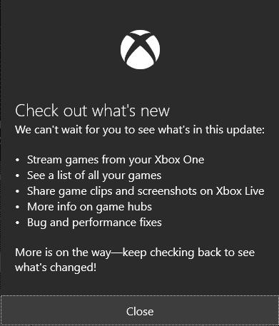 What's new in Windows 10 Xbox App