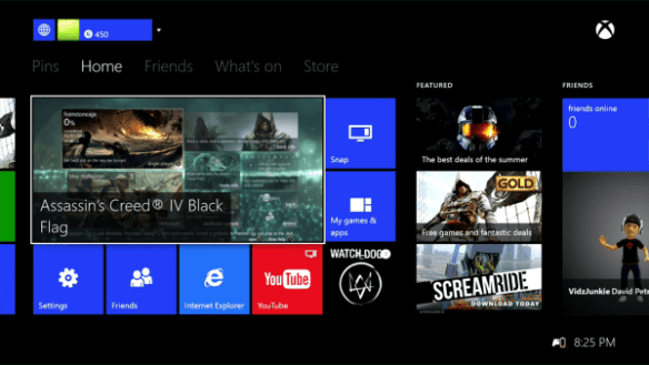 Xbox One Streaming Home Screen