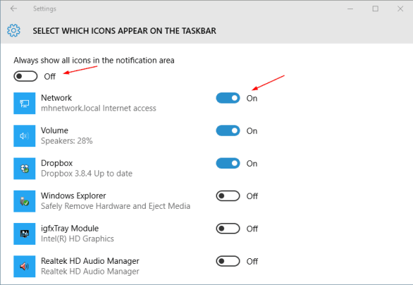 Settings - Notification - select icons - all icons