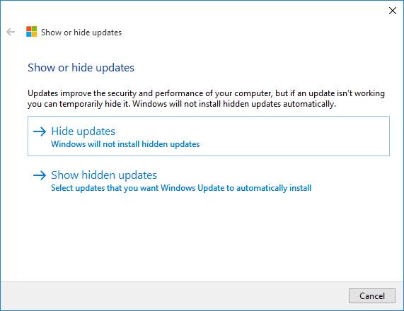 Show or hide updates - 2