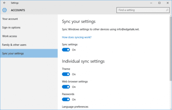 Sync your settings