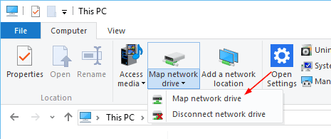 File Explorer - This PC - Map Network Drive