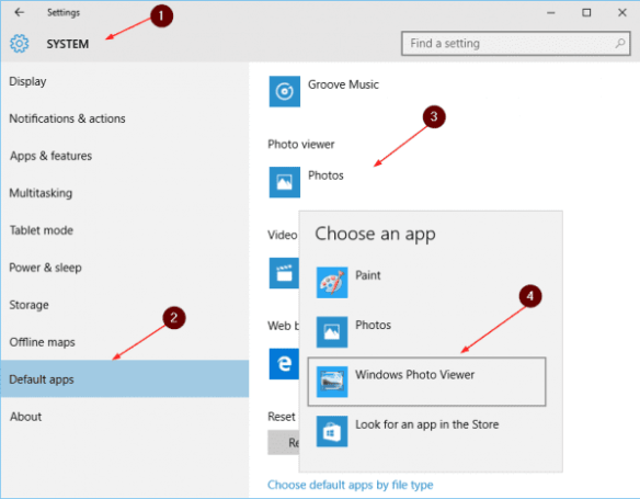 Settings - default photo app