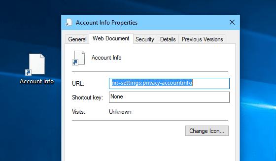 Settings shortcut on desktop