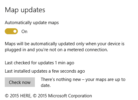 Settings - Offline maps - map updates