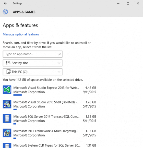 Windows 10 - Settings - Storage - Storage usage - apps