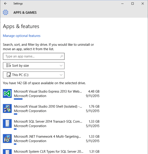 Windows 10 - Settings - Storage - Storage usage - apps