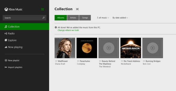 Xbox Music app on Windows 8