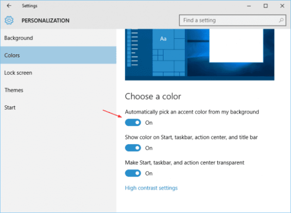 Settings - Personalization - Color - Auto pick an accent from background