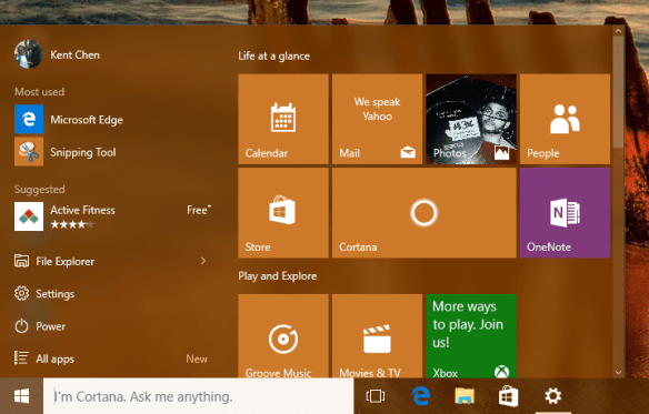 Start Menu with 4-column tiles