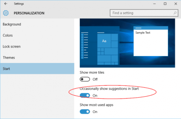 Windows 10 - Settings - Personalization - Start