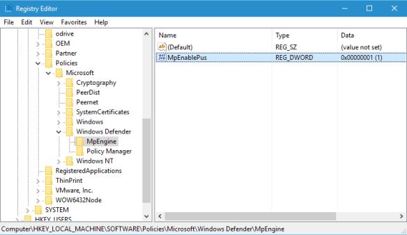Registry to enable Windows Defender PUA